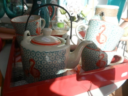 service à thé flamant rose