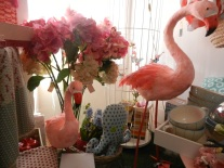 flamants roses en plumes.Rose Citron 2016