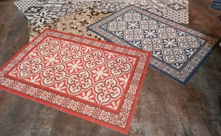 Tapis vinyl imitation carreau de ciment