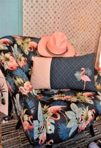 fauteuil en tissé Jacquard flamant rose