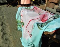 fouta coton et éponge motif flamant rose , panama rose délavé