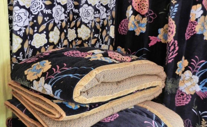 Boutis Fiancée du Mékong noir et safran